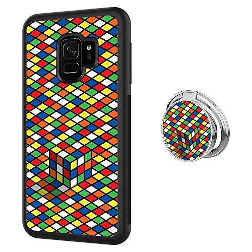 Hynina Phone Case and Phone Ring Buckle Compatible for Samsung Galaxy S9 - Colorful Rubik's Cube