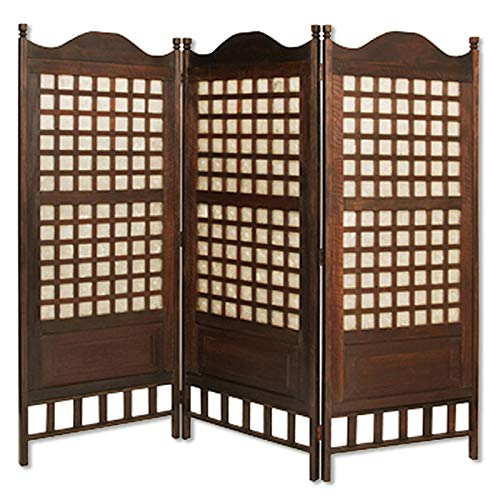 Best Buy! Benjara Wooden Foldable Diamond Screen with Grid Pattern, Brown