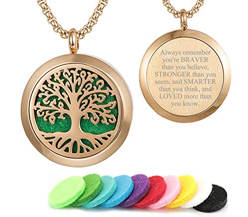 GFONDINGD Rose Gold Essential Oils Aromatherapy Tree of Life Pattern Diffuser Locket Necklace
