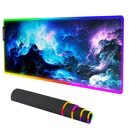 Space Gaming Mouse Pad|Extended RGB Gaming Mouse Mat|LED Animated Mouse Pad|- Large Mouse Pad with Waterproof Surface-Anti-Slip Base -10 Colors & 4 Modes-31.5x11.8x0.16 inches