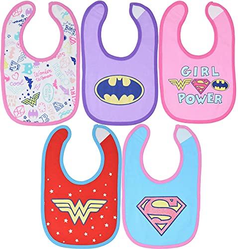 DC Comics Justice League Baby Girls 5 Pack Bibs Wonder Woman...