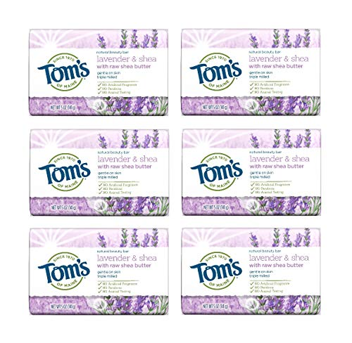Tom's of Maine Natural Beauty Bar, Bar Soap, Natural Soap, Lavender & Shea with Raw Shea Butter, 5 Ounce, 6-Pack