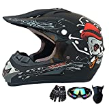YangMeng Motocross Casco Tendencia Skull ATV Motocicleta Casco SUV Máscara Gafas Gloves, Bicicleta De Tierra Down-Will Off-Road Mountain Bike Bike Set De 4 Piezas (Matte Black,Medium)
