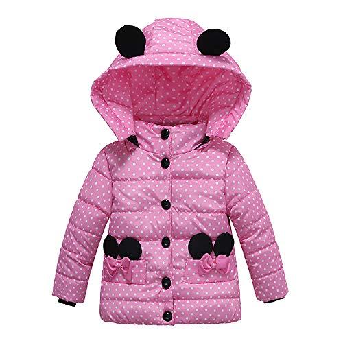 HUHU833 Baby-Kapuzen Mantel, Mode Kinder Mantel Baby Mädchen Dicke Mantel Daunenjacke Gepolsterte Dot Bowknot Winter Jacke Kleidung (Rosa, 24M-3Jahre)