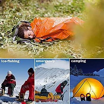 TSLBW 2 pièces Couchage de Survie Couverture de Survie en Film d'aluminium PE Bivouac de Survie d'urgence pour la randonnée Chasse Camping Activités de Plein air Gardez au Chaud