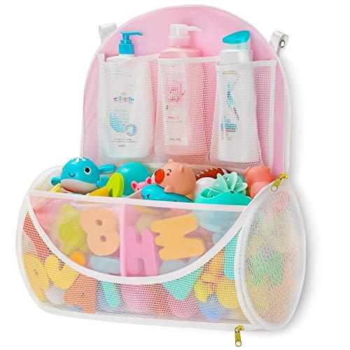 N\\A Mesh Bath Toy Organizer with YKK Zipper, Bathtub Toy Laundry Bag, Multiple Ways to Hang, Ultra Large Capacity & Large Opening, 4 Ultra Strong Hooks, Baby Bath Toys Storage Bag ( Large, White )