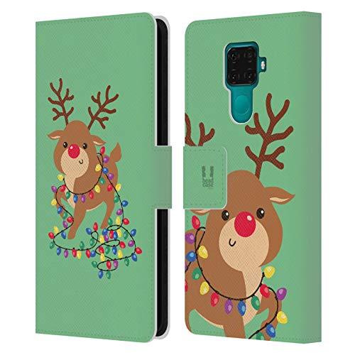 Head Case Designs Renna Cartoni di Un Felice Natale Cover in Pelle a Portafoglio Compatibile con Huawei Nova 5i PRO/Mate 30 Lite