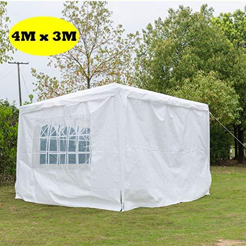 Autofather - Carpa de jardín de 3 x 4 m, toldo para fiestas de jardín, con 4 paneles laterales extraíbles, impermeable, color blanco