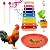 FPVERA Chicken Xylophone Toy for Hens Suspensible Chicken birs Toys with 8 Metal Keys Chicken Coop Pecking Toy with Grinding Stone with Hanging Feeder Toy with Red Feed Pan