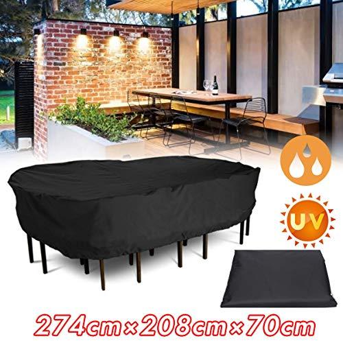 KING DO WAY Housse imperméable pour meubles,Couverture de Protection pour table Housses pour mobilier de jardin, Bâche étanche en fibre de polyester, 274cm x 208cm x 70cm, Rectanculaire Noir