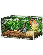 Yongirl - Caja para acuario de terrario de reptiles transparente, caja de alimentación de reptiles, de acrílico, 360 grados, de alta transparencia, magnética, para escalada de mascotas