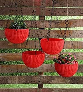 TRENDY HOME Hanging Balcony/Terrace Planters Plastic Flower Pots with Hanging Chains (Pack of 8) Red Color | 8 inches Diam...