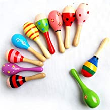 Cute Critters Wooden Ball Rattle Toy Colorful Sand Hammer Rattles Lovely Baby Handbell Music Learning Toy for Newborn Infa...