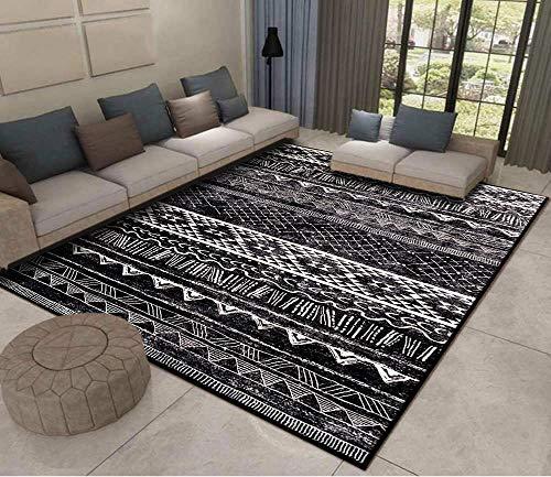 Alfombras Salon Grandes Alfombra Salón Pelo Corto Diseño Moderno Alfombra Vintage Style para Comedor Pasillo y Habitación(Blanco Negro, 200 x 300 cm)