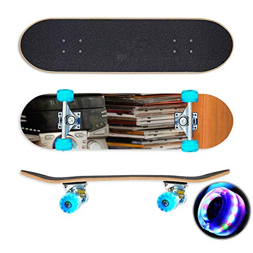 UYDBKSJABM EEN HiFi Toren met EEN verzameling Van muziek op CD en DVD Skateboard Colorful Flashing Wheels Extreme Sports&Outdoors 31''Cruiser Complete Standard Longboard Beginners Kids Cool Boys Teen