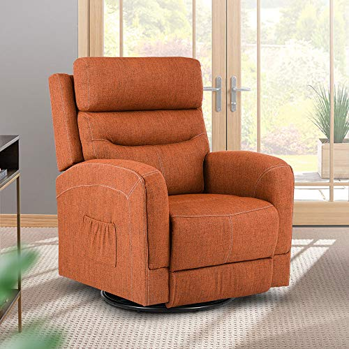 Massage Recliner Chair Heated Fabric Ergonomic Lounge Chair 360 Degree Swivel, with Lumbar Heating, Side Pockets, Rocker Reclining Sofa for Living Room, Remote Vibration Control (Fabric-Orange)