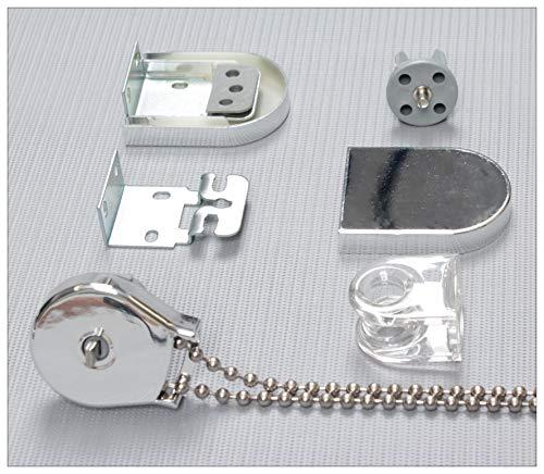 EFIXS Montageset für Rollos mit 25mm Rollowelle - Farbe: Silber - mit Metallkette - Länge der Endloskette (Bedienlänge): ca. 100 cm