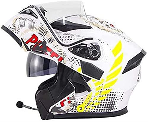 YCRCTC Casco Modular de Motos, ECE Homologado Casco de Moto con Bluetooth Integrado para Patinete Electrico Motocicleta Bicicleta Scooter con Gafas de Doble Protección Mujer y Hombre