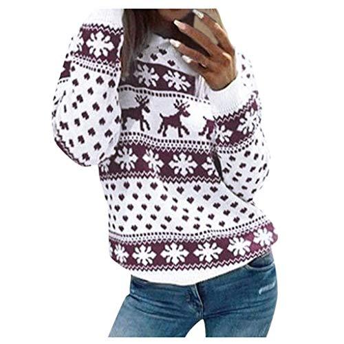 Lulupi Camicia Natale Donna Felpa Ragazza Tumblr Invernale Sweatshirt Oversize Pullover Maglione con Renna Retro novità Vintage Maglieria Donna Inverno Top
