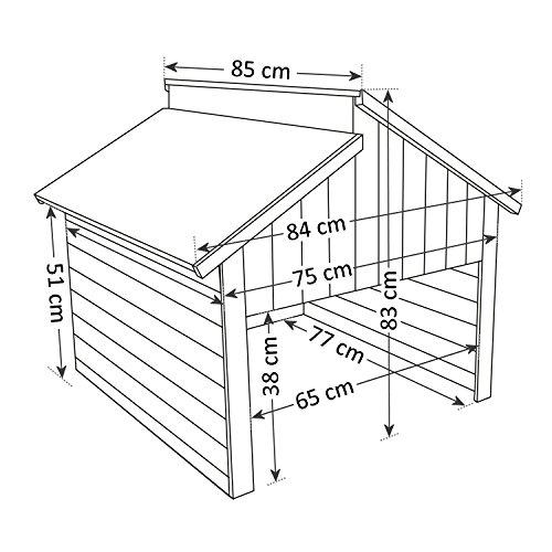 ZELSIUS Holzgarage für Rasenmäher Roboter, Mähroboter Garage, Carport, rot - 6