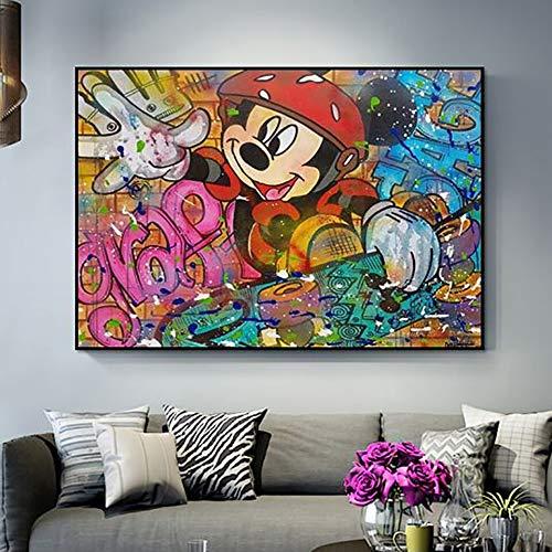 Geiqianjiumai Wandkunst Bilder HD Drucke Nordic Poster Cartoon Anime Maus Graffiti Home Decoration Leinwand Rahmenlose Malerei 60x80cm