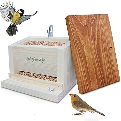 ERDENFREUND® Vogelhaus mit Vogelfutterspender-Automatik handverschraubt gehandicapte Menschen in der Pfalz - Vogelfutterhaus aus 2 cm FSC-Massivholz