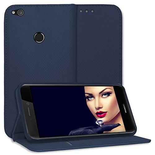 mtb more energy® Schutz-Tasche Bookstyle für Huawei P8 Lite 2017 / P9 Lite 2017 / Honor 8 Lite (5.2'') - dunkelblau - Kunstleder - Klapp-Cover Hülle Case