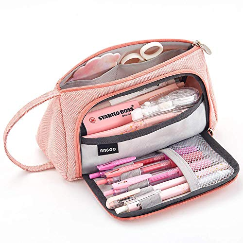 Ofat Home Large Pen Pencil Case, Capacity Colored Canvas Storage Pouch Marker Simple Stationery Bag Holder for Middle High School Office College Student Girl Women Adult Teen Gift Pink Plaid