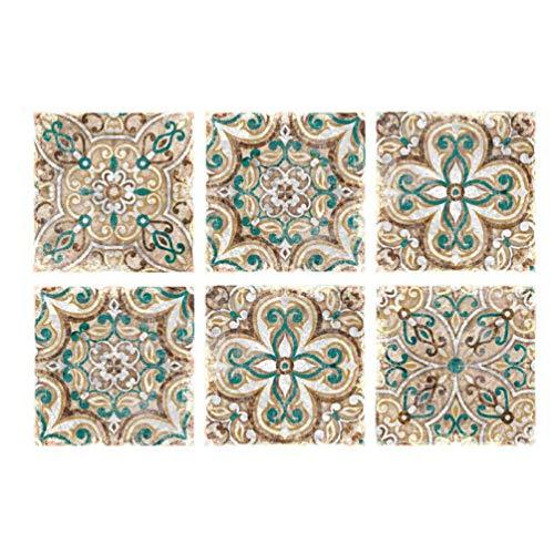 HEALLILY Adhesivo decorativo para azulejos de Marruecos para el suelo de la cocina y el baño, 20 x 20 cm, 10 unidades (verde)