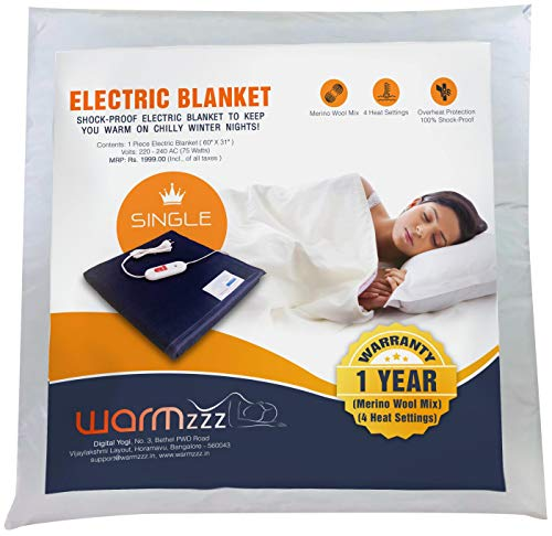 Warmzzz Wool Electric Blanket for Single Bed. Shock-Proof Heated Blanket with 4 Heat Settings - Blue