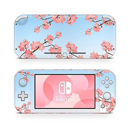 ZOOMHITSKINS Switch Lite Skin Decal Stickers, Baby Blue Pink Sweet Sakura Teal Floral Asia Coral Accessories Wrap Rose Anime, High Quality, Durable, Bubble-free, Goo-free, 1 Console Skin, Made in USA