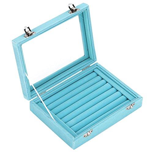 Zice Aussteller Display mit 7Fächern Samt Schmuck Ringe Tablett Ohrring Aufbewahrungsbox Schmuck himmelblau