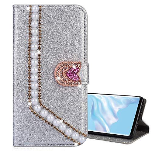Nadoli Leder Hülle für Huawei P20 Pro,Luxus Bling Glitzer Diamant 3D Handyhülle im Brieftasche-Stil Perle Herz Flip Schutzhülle Etui für Huawei P20 Pro,Silber