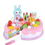 Moligin Kids Cake Toys 37 PCS Pretend Play Food Food DIY Corte Cumpleaños Pastel de cumpleaños Juguetes Conjunto con Velas Educativa Cocina Juguete Pink Práctico