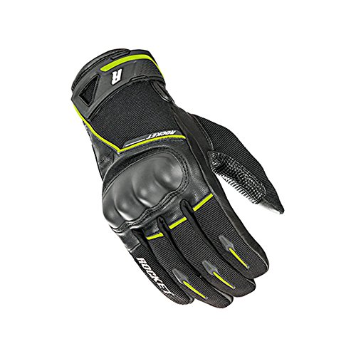 Joe Rocket Supermoto Mens Street Motorcycle Leather Gloves - Black/Hi-Viz/Medium