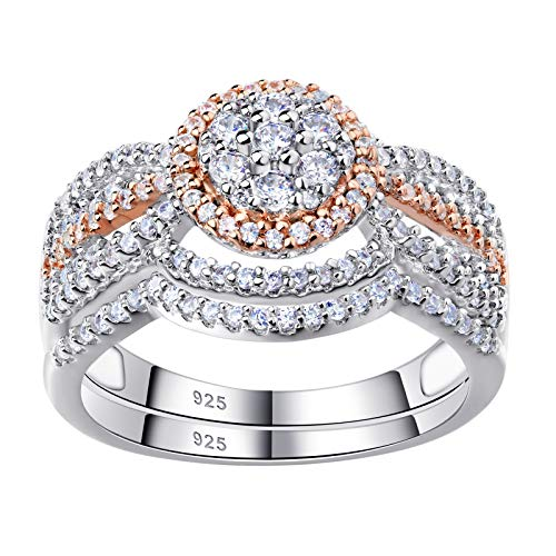 Newshe Engagement Rings for Women Wedding Ring Sets 925 Sterling Silver Cz 1.7Ct Rose Gold Size 6