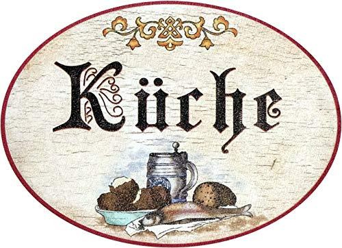 Kaltner Präsente Geschenkidee - Holz Geschenkartikel Deko Türschild im Antik Design Dekoartikel Motiv KÜCHE (Ø 18 cm)