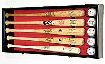 5 Baseball Bat Display Case Cabinet Holder Wall Rack Custom Options 98% UV - Lockable (Black Wood Finish, Red Felt - Horizontal Mounting)