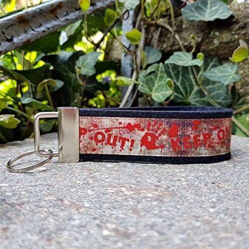 Schlüsselanhänger Schlüsselband Filz schwarz Ripsband Gothic Handabdruck Danger rot braun Geschenk!