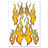Wandkings.de Racing Aufkleber Fire Flames Feuer Flammen Sticker Set - 12 Aufkleber auf DIN A4 Bogen
