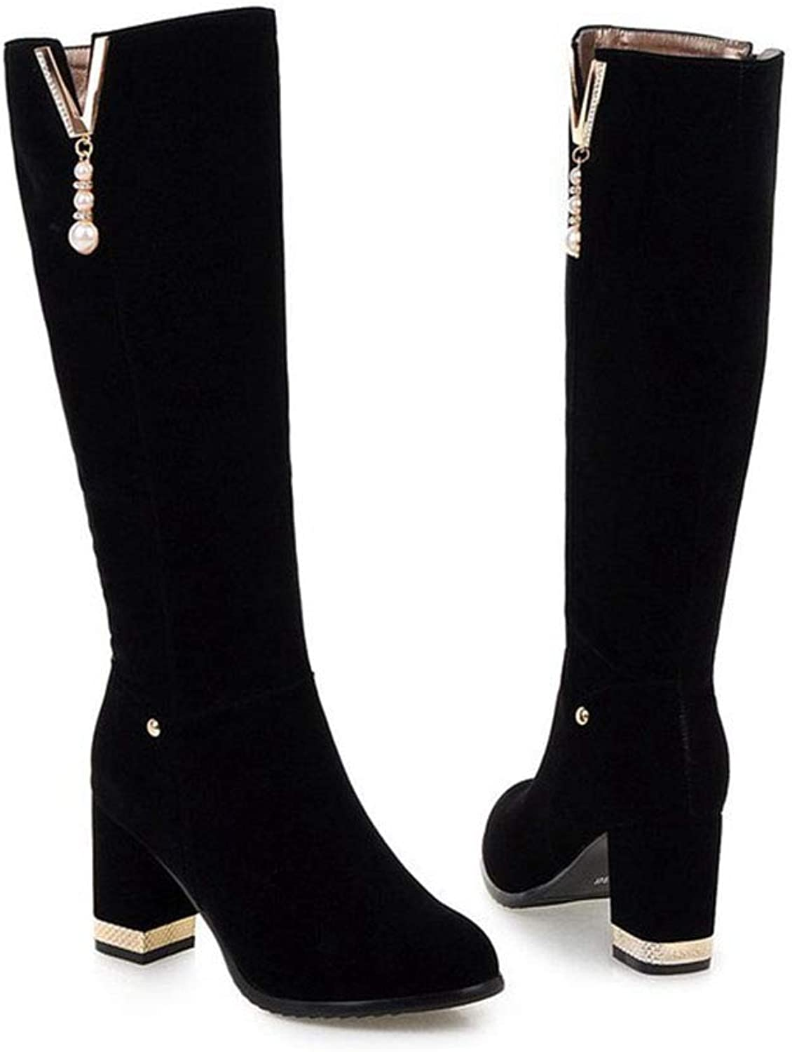 GONGFF Beaded High Boots Women's Large Size High Heel Suede Women's Boots
