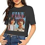 StevenJMoran Finn Wolfhard T Shirt Women Sexy Crop Top Blouse Dew Navel Shirt Round Neck Cotton Tee XL Black