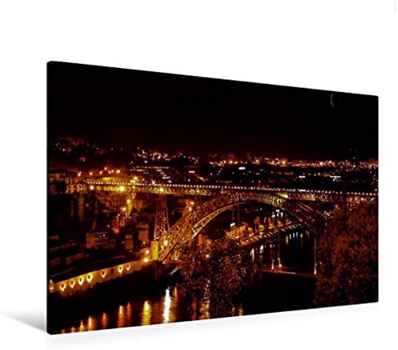 Calvendo Premium Textil-Leinwand 120 cm x 80 cm quer, Porto Ponte Dom Luis   Wandbild, Bild auf Keilrahmen, Fertigbild auf echter Leinwand, Leinwanddruck Orte Orte