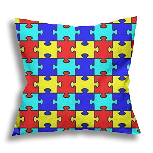 RDXX Jigsaw Puzzle Toy Flax Pillow Case Decorative Pillow Cushion Cover for Sofa Chair Bed Car Home Office Decor 45x45 cm