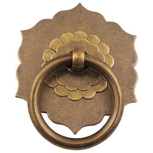 MLOZS Home & Garden - Aldilla para puerta (2 x 50 mm, redonda), diseño de anilla de latón, con asas de latón envejecido, estilo retro, para muebles de madera, gaveta, cajón, tirador de puerta