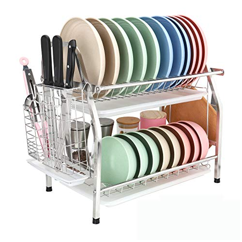 Dish Drying Rack 2 Tiers All 304 Stainless Steel, Dish Drainer Organizer for Kitchen Counter Storage, Rack of Dishes with Utensil Holder for Spoons, Knives, Cutting Board to Save Space, Square Tube