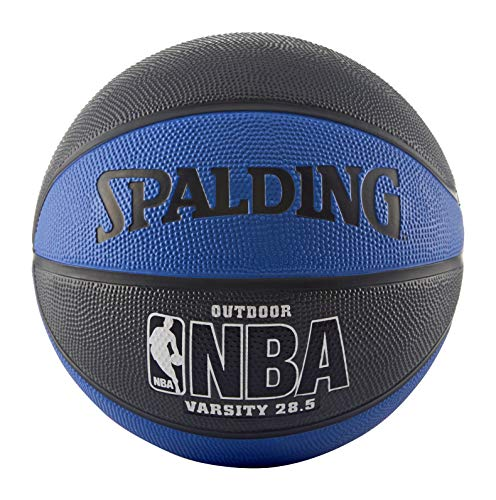 Spalding NBA Varsity Outdoor Rubber Basketball, 63-994T, blau/schwarz, Intermediate Size 6 (28.5