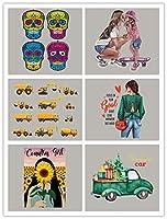 6 個 熱転写ステッカー、Tシャツ、コート、靴、帽子、ズボン、箱、バックパックに適しています、漫画の車の頭蓋骨の女の子