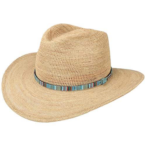 Stetson Crochet Western Raffiahut Damen/Herren - breitkrempiger Cowboyhut aus 100% Raffiastroh - stylischer Westernhut mit Garniturband - luftiger Sonnenhut - Frühjahr/Sommer beige XXL (62-63 cm)