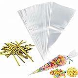 BESTONZON, 100 sacchetti trasparenti a cono, per caramelle, con nastri dorati (13 x 25 cm)